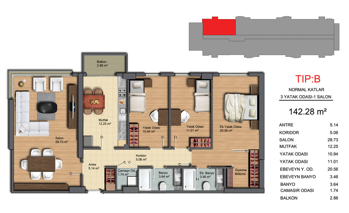 شقة مطلة على البحر 3+1